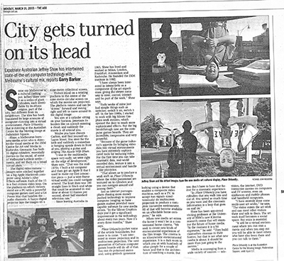 Article: City gets turned on its head By Garry Barker, The Age, 31 Mar 2003